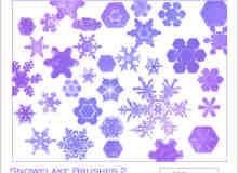 漂亮的各种各样的雪花图案photoshop笔刷素材下载