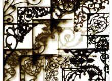 铁艺花纹装饰品、工艺品边角装修photoshop笔刷素材