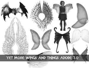 人造天使翅膀、恶魔翅膀、精灵翅膀、玫瑰翅膀等PS笔刷