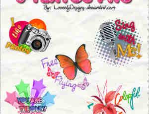 相机、蝴蝶、麦克风、星星时尚照片美图秀秀装饰png素材包