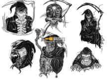 卡通死神、恶魔、灵魂收割者photoshop人像笔刷素材