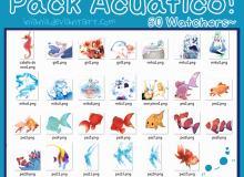 可爱人鱼、金鱼卡通饰品贴纸美图秀秀素材包下载