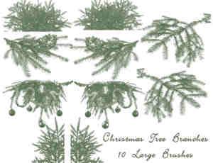 圣诞树的树枝、树杈、圣诞节装饰PS笔刷素材
