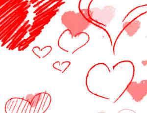 可爱的卡通手绘涂鸦爱心装饰photoshop笔刷免费下载