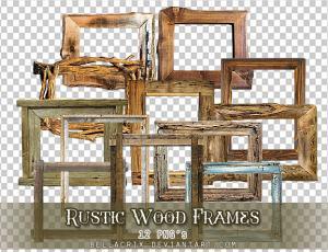 12种老旧木质相框png美图秀秀素材包下载