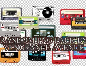 已扣!透明可爱复古卡通涂鸦磁带、录音带png美图秀秀素材