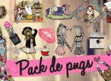 时尚非主流卡通小美女图案美图秀秀png素材包