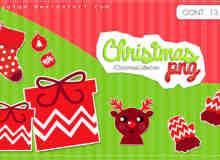 红色主题卡通圣诞节png美图秀秀素材包