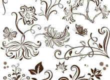 漂亮优雅的植物花纹图案、墙花Photoshop笔刷素材