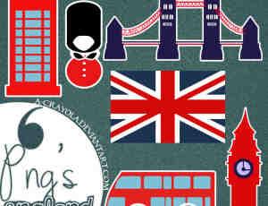 6个英国元素图案PNG美图秀秀素材下载