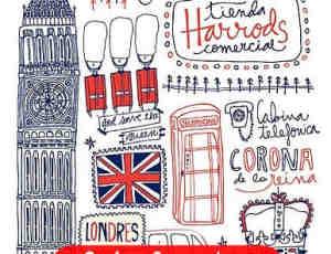 可爱的伦敦线条涂鸦PS笔刷素材