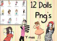 时尚漂亮的卡通女孩PNG透明美图秀秀素材包下载