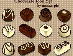 好吃的卡通巧克力糕点之美图秀秀素材包