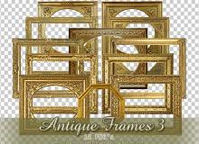 12种古典式相框、画框美图秀秀png素材包下载