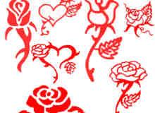 手绘玫瑰花花纹图案Photoshop笔刷素材下载