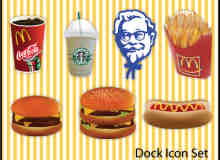 肯德基、麦当劳元素汉堡包、薯条包、可乐饮料美图秀秀素材下载