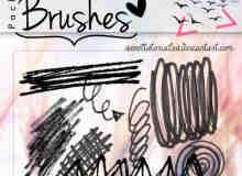 蜡笔、水彩笔随意涂鸦线条素材PS笔刷下载