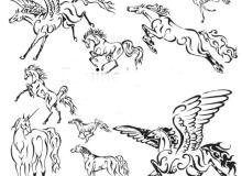 漂亮的手绘天马、独角兽涂鸦Photoshop笔刷素材下载