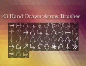 43种手绘涂鸦箭头符号Photoshop笔刷素材