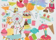 卡通纸飞机、西瓜、游乐园、棒冰、雨鞋、蝴蝶、旋转木马等PNG美图秀秀素材包