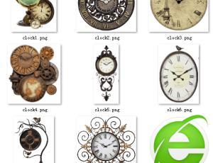 欧式古典艺术时钟png图片【美图秀秀素材笔刷】