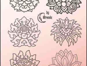 娟细的手绘版刻莲花花纹图案Photoshop笔刷素材