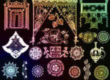 印度古典花纹图案Photoshop笔刷素材