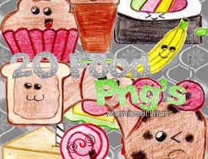 可爱卡通手绘食物素材【美图秀秀笔刷包】