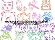 童趣手绘小动物图案PS笔刷素材