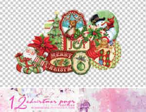 卡通小清新圣诞节图片png透明素材【美图秀秀素材包】