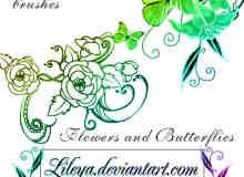 漂亮的艺术蝴蝶花纹图案PS笔刷