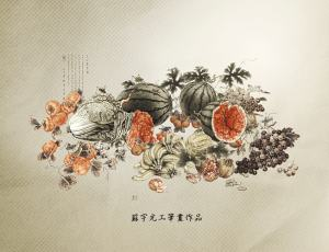 中国古画艺术水果背景图片素材【美图秀秀素材包】
