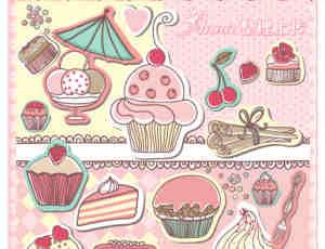 已扣!卡哇伊可爱卡通蛋糕素材【美图秀秀笔刷包】