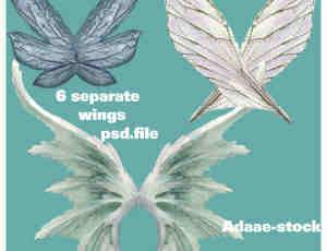 梦幻精灵翅膀PNG透明素材【美图秀秀素材包】