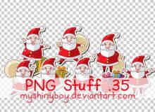 超级可爱圣诞老人PNG透明素材【美图秀秀素材包】