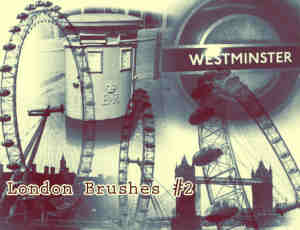 伦敦桥、摩天轮、邮筒PS笔刷素材