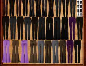 女式西装短裤、皮裤、喇叭裤、牛仔裤Photoshop笔刷素材
