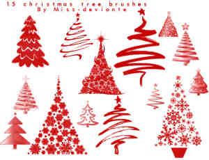 各种效果圣诞树Photoshop笔刷