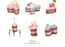 可爱靓丽卡通蛋糕图片素材【美图秀秀笔刷包】