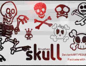 卖萌的骷髅人、可爱骷髅头Photoshop笔刷素材