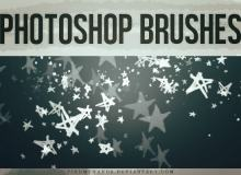 可爱手绘涂鸦五角星Photoshop笔刷