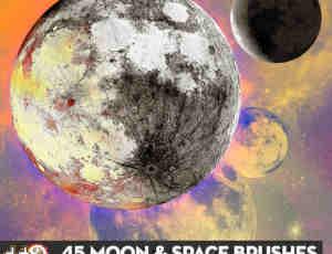 超大凄美月球、月亮Photoshop笔刷素材