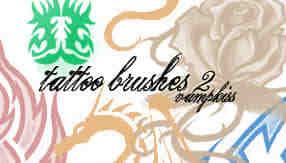 玫瑰花、火焰纹饰、纹身图案Photoshop笔刷