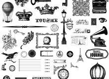 版刻式钥匙、城堡、皇冠、铁塔、留声机、邮票Photoshop笔刷素材