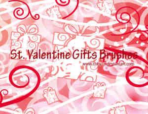 可爱卡通礼物盒花纹饰品Photoshop笔刷下载