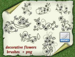 漂亮的手绘植物花朵图案Photoshop笔刷素材