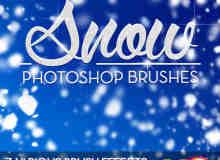 圣诞节雪景、下雪Photoshop笔刷素材