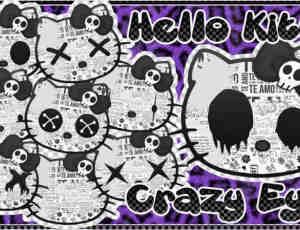 Hello Kitty也玩恐怖!照片矢量装饰素材