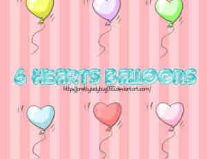 6个可爱七彩爱心气球美图素材打包下载