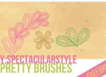 3个小可爱线条花纹Photoshop笔刷素材